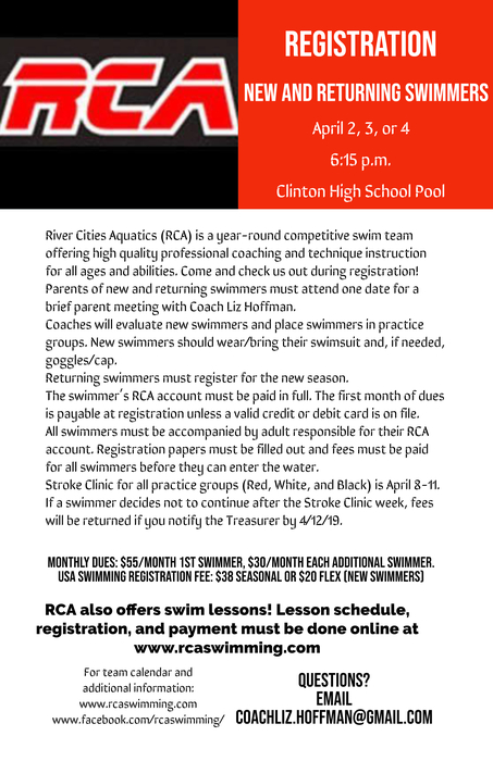 RCA Swimming Registration Information